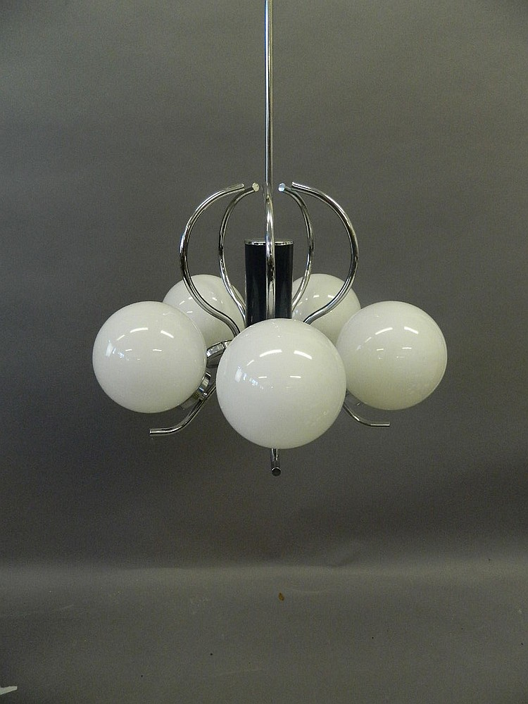A Contemporary Chrome Plated Five Branch Ceiling Light With
