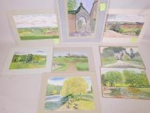 """James Cleaver ARCA (1911-2003), a collection of watercolour paintings including local interest, the entrance to Betchworth Church, Reigate Heath etc, largest 14"""" x 20"""" (8)"""