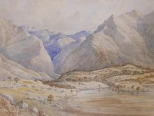 """ALFRED FOWLER PATTEN R.B.A. (1829-1888), 'VALLEY OF THE BIR FROM DROOR TAL', 1868, WATERCOLOUR, MONOGRAMMED AND DATED RECTO, 13"""" X 19"""", MOUNTED, FRAMED AND GLAZED"""