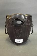 A C19th Chinese bronze twin handled censer with