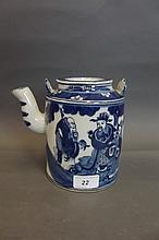 A Chinese blue and white pottery teapot painted