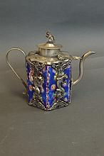 A Chinese white metal bound pottery teapot with