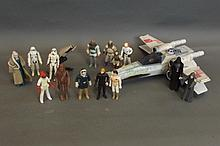A quantity of Star Wars figurines and an X-Wing