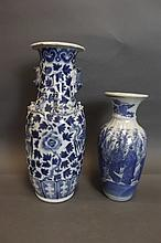 A C19th Chinese blue and white twin handled vase
