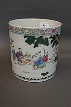 A large Chinese porcelain brushpot with painted