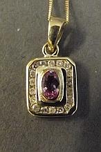 A 9ct gold and pink sapphire and diamond square