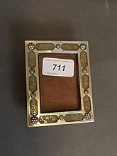 A Hallmarked silver and faux shagreen photo frame