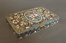 A silver and champleve enamel box,