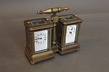 A double brass carriage clock, 4¾