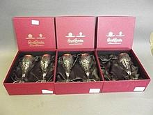A set of three boxed sets of wine glasses by Royal
