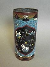 A Chinese C19th cloisonné brushpot with butterfly