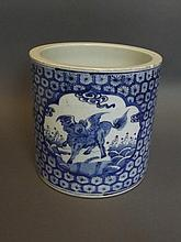A large Chinese blue and white brush pot with
