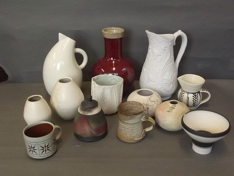 A Large Quantity Of Studio Pottery To Include Jugs And Vases