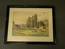J.H. Cranstone, watercolour, Perthshire landscape with farmyard animals, buildings and distant loch,