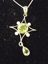 A 9ct gold peridot and pearl necklace