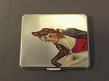 A silver engine turned cigarette case with hand