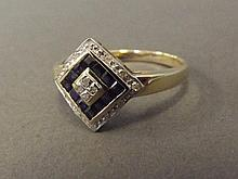 A 9ct gold sapphire and diamond square shaped Art