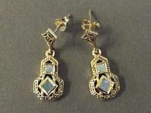 A pair of 9ct gold Victorian style drop opal