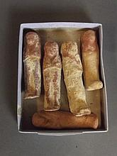 Five Egyptian pottery Shabtis, 2¾