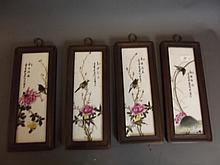A set of 4 Chinese wood framed pottery wall