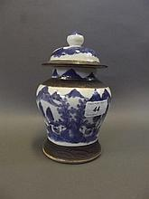 A C19th Chinese blue and white pottery jar and