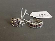 A 925 silver ring set with amethysts and seed