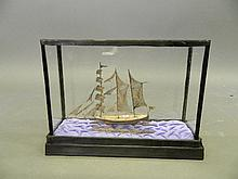 A continental Niello silver model of a 3 masted