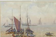 """John E Aitken (1881-1934), coastal inlet with beached boats and steam tugs on the river, signed, watercolour, 14"""" x 10"""""""