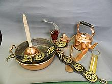 A quantity of brass and copper to include a jam
