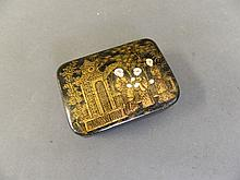 A Regency papier-mache snuff box with chinoiserie