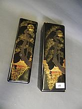A C19th Japanese lacquer box decorated with a