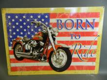 A large metal advertising sign for Harley Davidson 'Born to Ride', 27