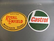 A circular cast metal advertising sign for 'Castrol Oil', together with an oval metal sign for 'Royal Enfield Motorcycles', 12