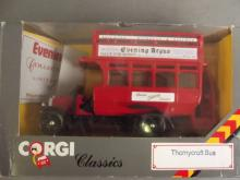 A Limited Edition Corgi Classics model of a Thornycroft bus bearing the Evening Argus banner, 65/250