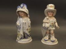 A pair of late C19th/early C20th Continental porcelain figures with hand painted decoration, 'Mama' and 'Papa', 10