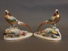 A pair of Samson porcelain figures of pheasants painted in bright enamels, 5