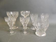 A John Walsh Walsh fruiting vine pattern stemmed rummer, together with a long stem wine glass, a tumbler, and four smaller wine glasses, all with the same pattern (7)