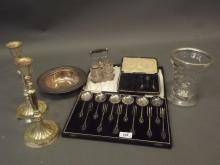 A cased set of silver plated forks and spoons, cruet, bowl etc, and a silver collared cut glass vase (AF)