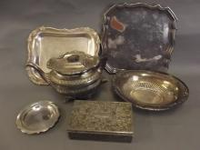 A C19th ornate silver plated teapot, together with two silver plated card trays, an oval basket, and a rectangular jewellery box, teapot 5