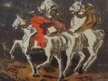 Geoffrey Wylde, South African coloured lithograph of three African horsemen, 11