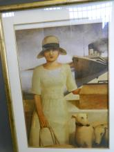 A Limited Edition art poster of a girl in a white dress with two dogs standing beside a dock 320/700, 20