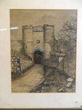 F.F. Searle, pen, ink and body colour drawing of a castle gateway, signed and dated 1890, 9½