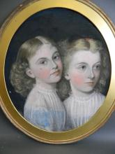 A C19th oval pastel portrait of two girls, 20