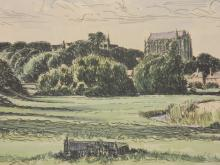 J.W. Bramham, pen and wash, view across the meadows to Lancing College, signed and dated (19)67, 6½