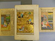 Three unframed Indo-Persian paintings, hunting scene and courtship scenes, 7
