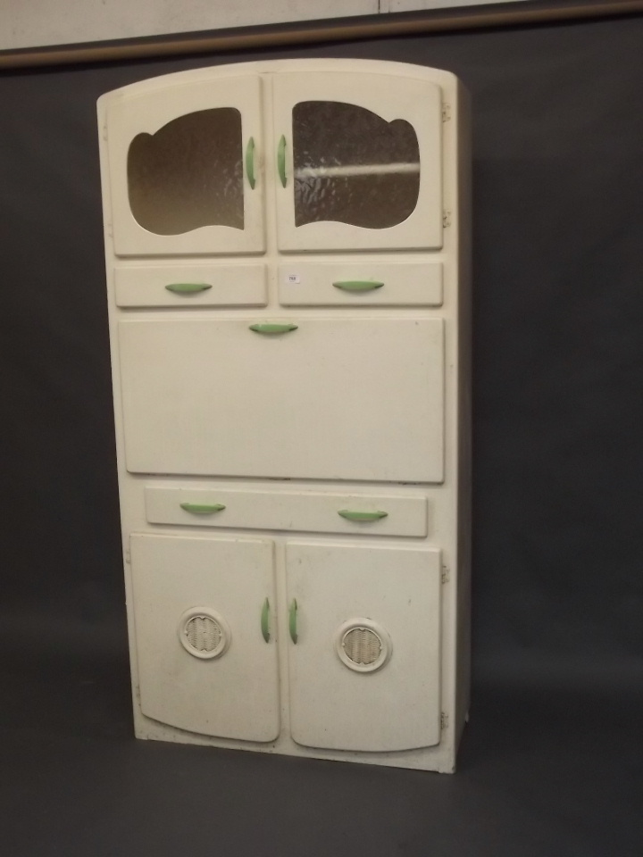 A 1930s mother hubbard painted kitchen cabinet with fall fro for Auctions for kitchen cabinets