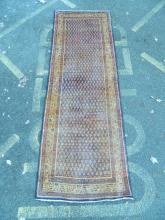 A Persian blue ground Sarouk runner with all over Mir design, full pile, 123