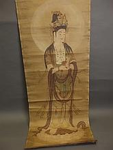 A Chinese watercolour of scroll form depicting