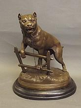 A large bronze figure of a dog chained to a fence,