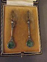 A pair of 18ct white gold and platinum, jade and